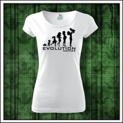 Vtipné dámske tričko Evolúcia mamy, vianočný darček pre mamu