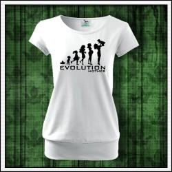 Vtipné dámske tričko s patentom Evolution Mother