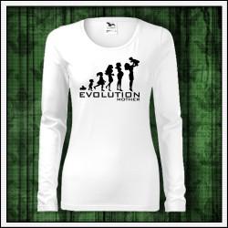 Vtipné dámske dlhorukávové tričko Evolúcia mamy