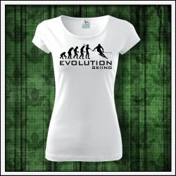 Vtipné dámske tričká Evolution Skiing