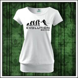 Vtipné dámske tričká s patentom Evolution Skiing