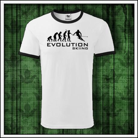 Vtipné unisex dvojfarebné tričko Evolution Skiing, vianocny darcek