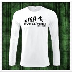 Vtipné pánske 180 g. dlhorukávové tričká Evolution Skiing