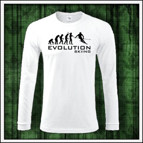Vtipné pánske dlhorukávové tričká Evolution Skiing