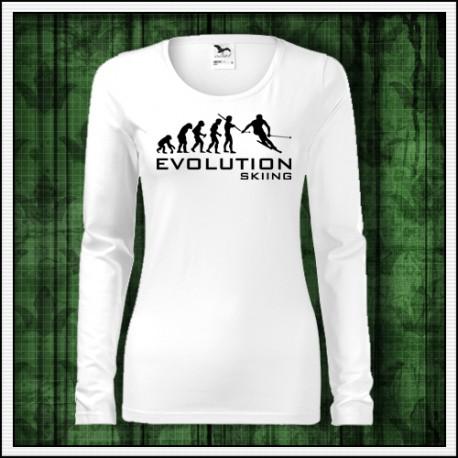 Vtipné dámske dlhorukávové tričko Evolution Skiing, vtipny vianocny darcek pre lyziarku