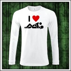 Vtipné pánske 180 g. dlhorukávové tričká I Love Sex