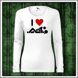 Vtipné dámske dlhorukávové tričká I Love Sex
