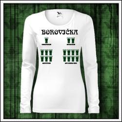 Vtipné dámske dlhorukávové tričko Borovička - antikoronavirus