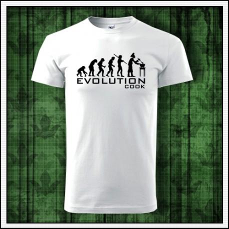 Vtipné unisex tričko Evolúcia kuchára