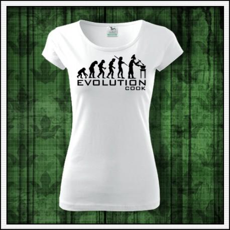 Vtipné dámske tričko Evolúcia kuchárky, vtipný vianočný darček