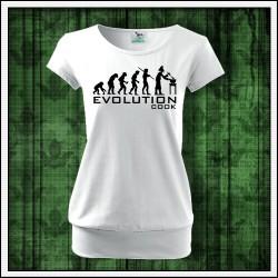 Vtipné dámske tričko s patentom Evolution Cook, darček pre kuchárku