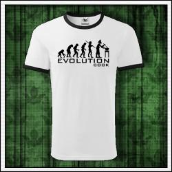 Vtipné unisex dvojfarebné tričko Evolúcia kuchára