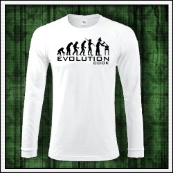 Vtipné pánske dlhorukávové tričko pre kuchára Evolution Cook