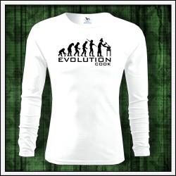 Vtipné pánske dlhorukávové tričko Evolution Cook, darček pre kuchára