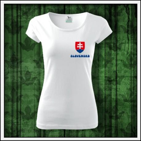 990df9747fe14 Dámske tričko Slovensko so slovenským znakom na prsiach