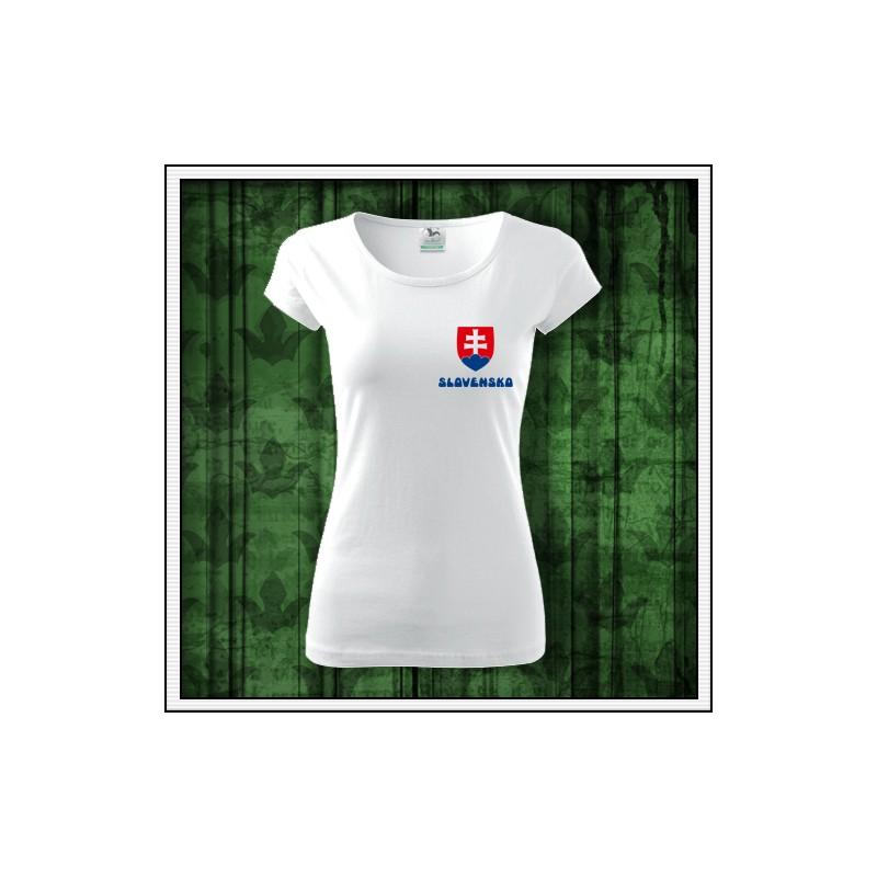3e8bb4d533d2 Dámske tričko Slovensko so slovenským znakom na prsiach
