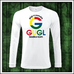 Vtipné pánske 180 g. dlhorukávové tričká Gugl bodka kom