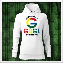 Vtipné dámske jednofarebné mikiny Gugl bodka kom