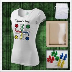 vtipné dámske tričko s potlačou Človeče nehnevaj sa, vtipné darčeky, vtipné tričká, srandovné darčeky.