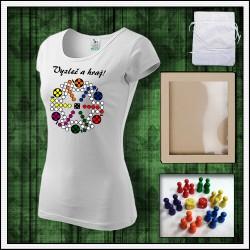 dámske vtipné tričko s potlačou Človeče nehnevaj sa, vtipný darček, vtipné tričko, humorné vianočné darčeky