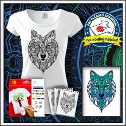 Tričko s omaľovankou Vlk - dámske