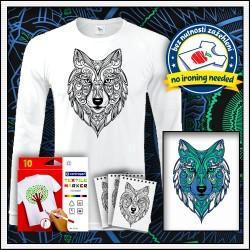 Dlhorukávové tričko omaľovánka vlk