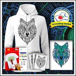 Vyfarbovacia antistresová dámska mikina Vlk, omaľovánka vlk
