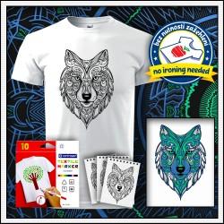 darček pre deti vyfarbovacie antistresové detské tričko Vlk