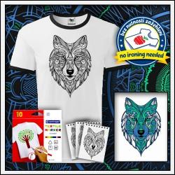 Omaľovanka na tričku s potlačou vlka pre deti