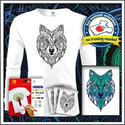 Vyfarbovacie antistresové detské dlhorukávové tričko Vlk