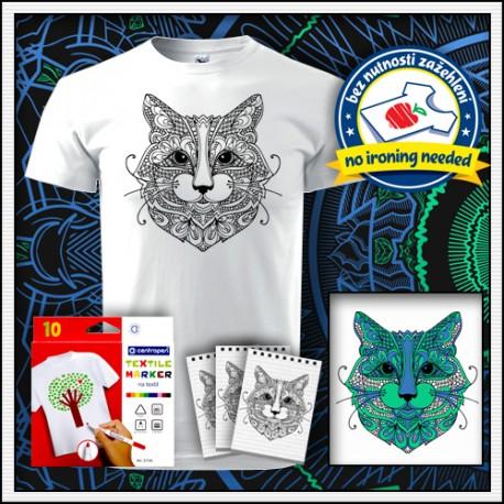 Vyfarbovacie antistresové unisex tričko mandala Mačka