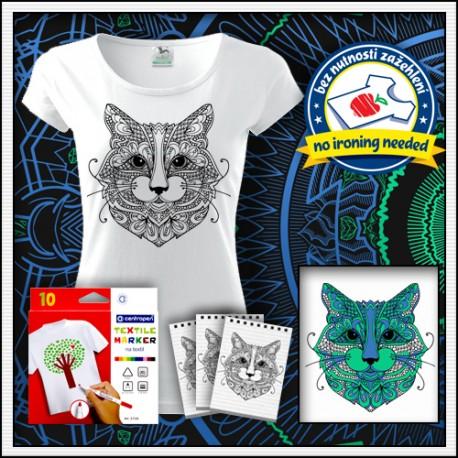 Vyfarbovacie antistresové dámske tričko Mačka mandala na tričku