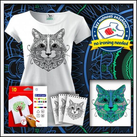 Vyfarbovacia mandala mačky na tričku s patentom