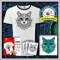 Vyfarbovacie antistresové unisex dvojfarebné tričko Mačka