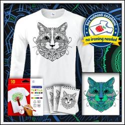 Vyfarbovacie antistresové pánske 180 g. dlhorukávové tričko Mačka