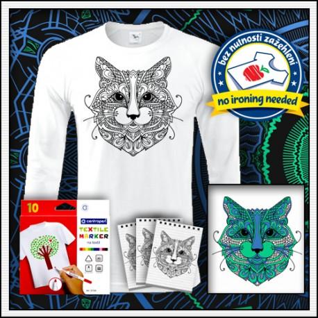 Vyfarbovacie pánske dlhorukávové tričko omaľovánka mandala Mačka