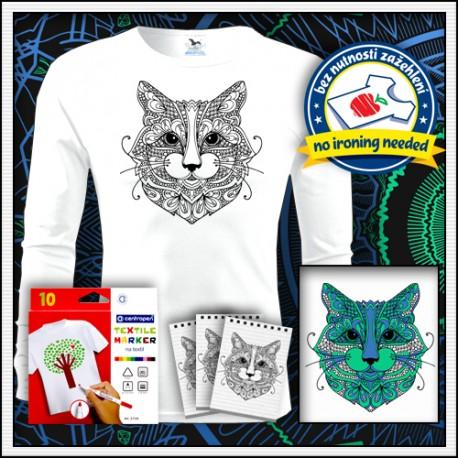 Vyfarbovacie antistresové pánske dlhorukávové tričko omaľovánka Mačka
