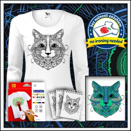 Omaľovánka mandala mačka na dámskom dlhorukávovom tričku