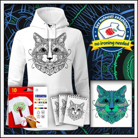 Vyfarbovacia antistresová dámska mikina mandala Mačka