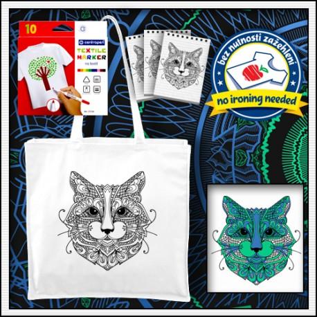 Vyfarbovacia antistresová taška omaľovánka mandala Mačka