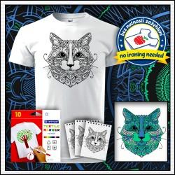 Vyfarbovacia mandala Mačka na detskom tričku