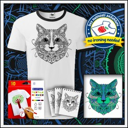 Vyfarbovacie antistresové detské dvojfarebné tričko Mačka