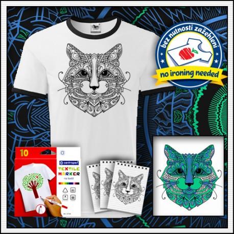 Vyfarbovacie antistresové detské dvojfarebné tričko omaľovánka Mačka