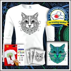 Vyfarbovacia mandala mačka na detských dlhorukávových tričkách