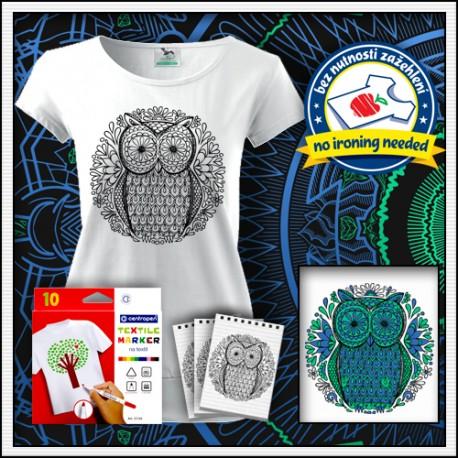 Omaľovánka Sova na tričku s patentom