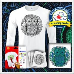 Vyfarbovacie antistresové pánske 180 g. dlhorukávové tričko Sova