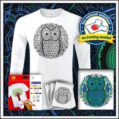 Vyfarbovacie antistresové pánske dlhorukávové tričko omaľovánka Sova