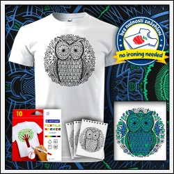 Vyfarbovacie antistresové detské tričko Sova