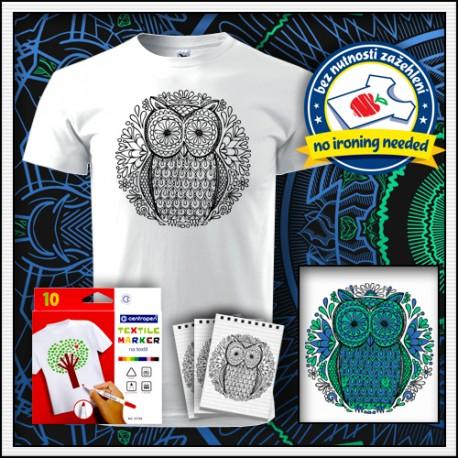 Vyfarbovacie antistresové detské tričko s omaľovánkou Sova