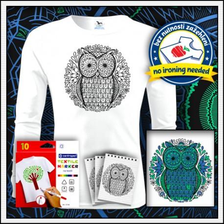 Vyfarbovacie antistresové detské dlhorukávové tričko omaľovánka Sova